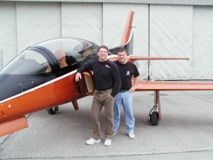 Dan (left) and Scott Hanchette are ready to show off their Viperjet MKII Executive at the Porsche Business Aircraft & Jet Previews at Boeing Field and Centennial Airport. It's a luxury version of the popular kit-built aircraft made in Pasco, Wash.
