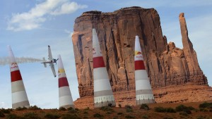 American race pilot Mike Mangold flaunts his wings at the third race of the 2007 Red Bull Air Race World Series on Saturday, May 12, in Monument Valley, Utah.