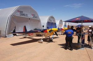 The flight line at Goulding's airstrip included a hangar complex erected by Red Bull to shelter the race aircraft when they were not flying.