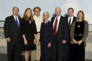 L to R: Knox Bridges, Lindbergh Foundation president; Robyn Beavers, Google; Dr. J. Michael Fay; Clare Hallward, foundation vice chairman; Capt. Eugene Cernan; Erik Lindbergh, foundation chairman; and Sarah Susanka.