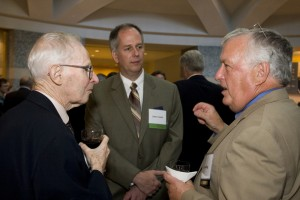 Dr. Paul Macready (left) visits with Lindbergh grant Recipient James Smith (center) and board member Capt. Joe Anding.