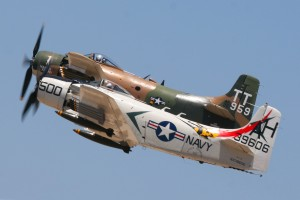 Bob Grondzik and Rick Morrison flew their Douglas Skyraiders in tight formation during the Vietnam War air support demonstration.