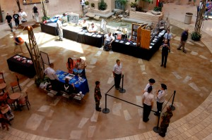 Aviation groups set up displays at Fiesta Mall's center court to promote aviation in Arizona.