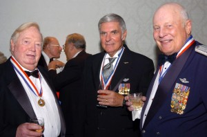 L to R: National Aviation Hall of Fame enshrinees Joe Kittinger, Dick Rutan and Robin Olds shared the experience of being combat fighters in Vietnam.