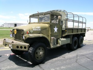 "The Colorado Kampfgruppe display included this American ""deuce and a half."""