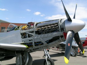 Marius Maxwell's P-51 was in the process of getting its annual inspection at Rocky Mountain Metropolitan Airport during its open house. The airplane was displayed partially disassembled so attendees could look at its inner workings.