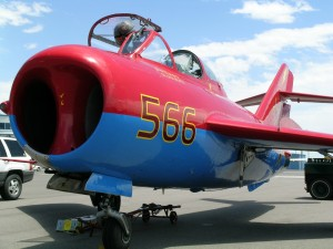 Jack Wilhite's MiG-17 flew as part of the event's aerobatic display.