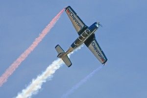 Julie Clark flew the Chevron Mentor T-34 at the California Capital Air Show in Sacramento, June 9 and 10.