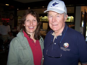 Victoria and Chuck Yeager enjoy the company at the Barron Hilton Cup Soaring Camp.