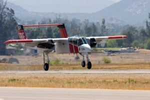 Cal Fire's OV-10A Bronco makes a bit of a wobbly landing.