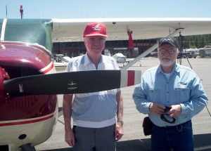 Doug Rankin (left), retired United Airline pilot with 27,000 hours, has been flying his 1956 Cessna 182 since 1974. Neil Houston, retired after more than 38 years as a mechanic for American Airlines, likes to go on light plane rides.