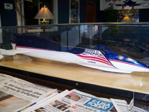 "Steve Fossett hopes to break the world land speed record in the ""Spirit of America-USA."" A model is on display in the Jet West FBO lobby at Reno/Tahoe International Airport."