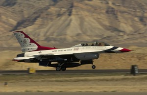 A Thunderbird rolls down the runway in Grand Junction.