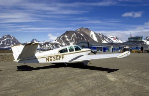 Dr. Bodor took time to photograph his Beechcraft Bonanza at Kulusuk Airport, Greenland, during a flight to Europe over the North Atlantic.