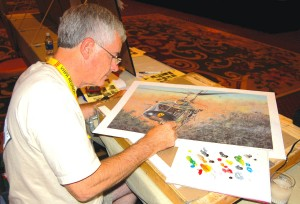 Professional artist Joe Kline was available during the reunion to paint limited edition prints for any pilot wanting a custom representation of the helicopter he flew in Vietnam.