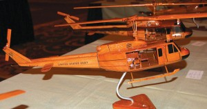 Event guests had the opportunity to order hand-carved mahogany models of every type helicopter flown during the Vietnam War, personalized with unit insignias and tail numbers. The models are made in Vietnam.
