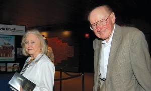 Aviation legend Bob Hoover and his wife Colleen arrive at the fundraiser.