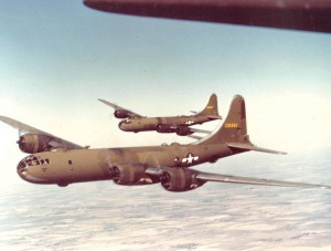 The name of the Boeing B-29 Superfortress, a four-engine, heavy propeller-driven bomber, was derived from its well-known predecessor, the B-17 Flying Fortress. The B-29 delivered atomic munitions to Japan, ending World War II.