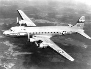 The military version of the Douglas DC-7, the C-121A, flew non-tactical missions in the 1950s, under the command of the Military Air Transport Service.
