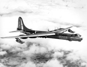 The B-36 Peacemaker carried a maximum bomb payload of two 42,000-pound Grand Slam bombs. It had six 3500-hp R4360 radial engines and four 5,200-pound J47-GE-19 turbojets.