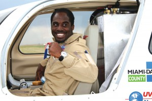Barrington Irving greets fans at the Rocky Mountain EAA Regional Fly-In at Denver's Front Range Airport on June 23.