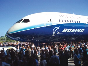 Thousands were on hand to celebrate the rollout of Boeing's 787 Dreamliner at the company's assembly plant in Everett, Wash., including employee, airline executives and government officials.