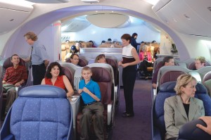 A mock-up of the 787 interior depicts the Dreamliner's new higher ceilings, wider seats and bigger window design for the twin-aisle airliner.