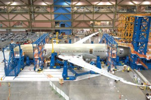 Assembly of the new Boeing 787 needs no rivets for its carbon-composites fuselage and wings or giant overhead cranes to move plane parts along the assembly line.