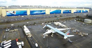 Boeing's assembly plant in Everett, Wash., viewed from the paint hangar and parking ramp south of the facility, produces 747, 767, 777 and 787 airliners.