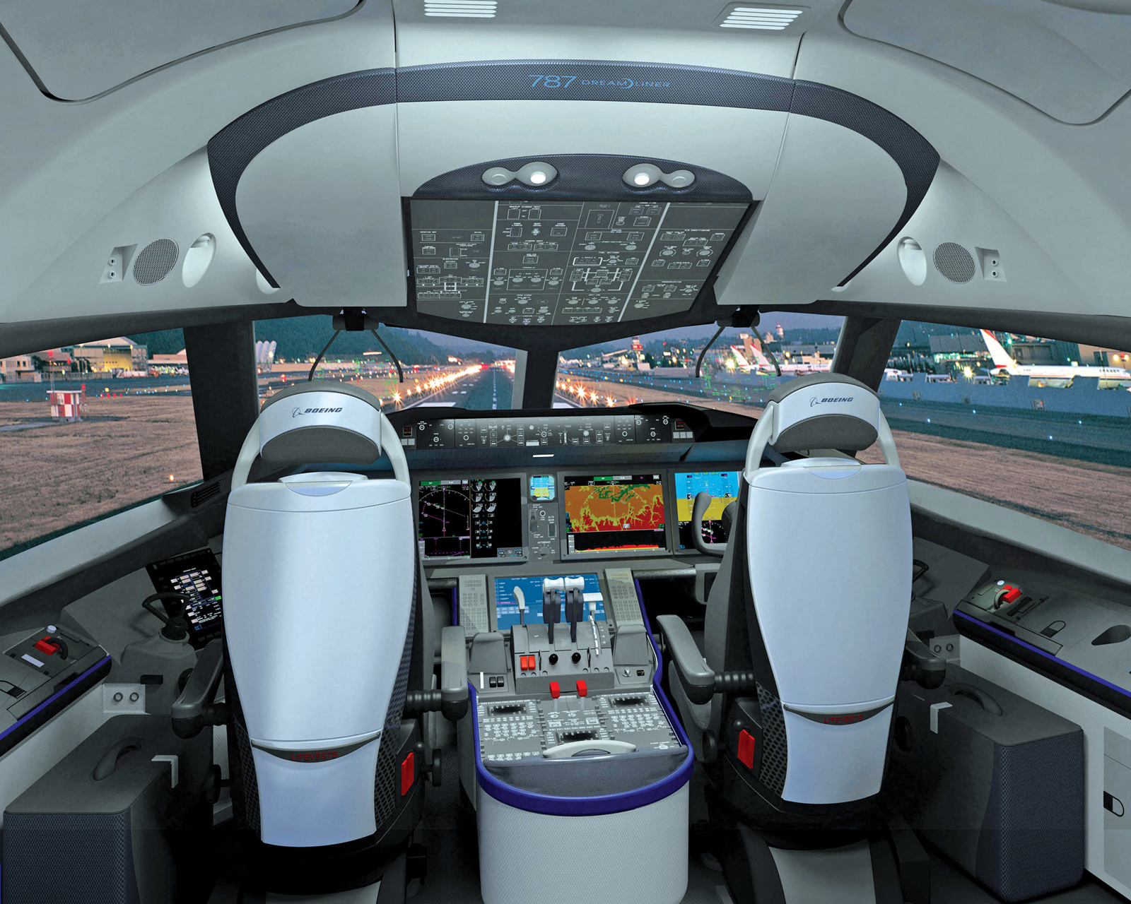 The Cockpit Of The New 787 Has Improved Visibility And A Clean, Uncluttered  Appearance Enhanced