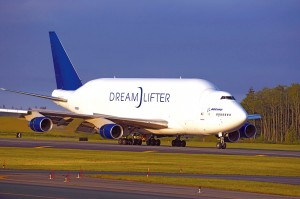Boeing's 747 Dreamlifter lands at Paine Field to deliver large 787 sections from production partners in Japan, Italy and the United States.