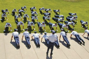 Cadets form up for pushups prior to release from duty.