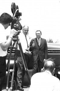 Hal Fishman's television interviews were famous for integrating his interests in aviation and journalism. This photo, shot in the early 1970s, shows him interviewing flight instructor Chuck Miller in front of Fishman's Piper Comanche 250.