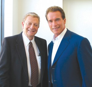 """I remember Hal giving me the news when I first came to California in 1968,"" said California Governor Arnold Schwarzenegger (right), who paid tribute to the late journalist by dubbing him ""an icon"" of California."