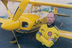 Jim LeRoy, next to his heavily modified Pitts biplane, Bulldog, perished during a July crash at a Dayton, Ohio air show.