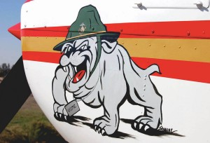 """Chesty"" the bulldog, the Marine's official mascot, is painted on the left engine cowling."