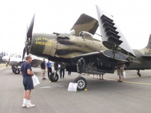 The Heritage Flight Museum in Bellingham, Wash., displayed Proud American, a Douglas A-1 Skyraider.