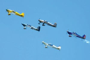 A formation of four Van's RVs and a Harmon Rocket, led by Bob Hobert, made passes during the show.
