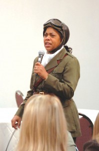 Sandra Campbell performed for the conference closing session as the late Bessie Coleman, the first African American to earn a pilot's certificate. The NAHF enshrined Coleman in 2006.