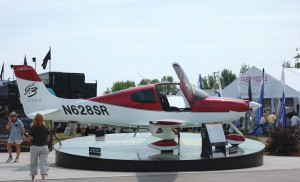Cirrus displayed this SR22-G3 at AirVenture 2007. Jason Steele said the model, with its turbocharged engine, has many features that make it a safer choice than a piston twin for flying in Colorado and the West.