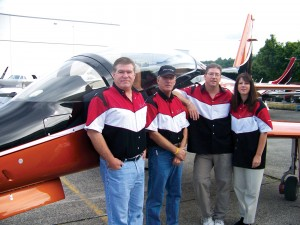 Viper Aircraft representatives displayed the kit-built experimental Viperjet MKII Executive. L to R: Scott Hanchette, president; Greg Bennett, pilot; Dan Hanchette, vice president; and Amber Hanchette, secretary/treasurer.