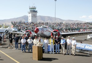 Mike Houghton, president and CEO of the Reno Air Racing Association, leads off the NAHI awards presentation on Sunday morning of race weekend.