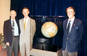 "In 2005, Paul MacCready (left) reunited with two members of the Gossamer Condor team during an event sponsored by the American Geographical Society. They included ""pilot-engine"" Bryan Allen (center) and co-inventor Peter Lissaman."