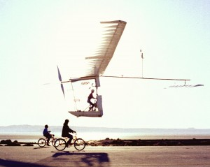 Human power was behind many of Paul MacCready's most visionary designs including the Gossamer Albatross II, seen here during a NASA test flight.