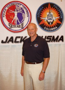 Jack Lousma supported the Apollo 9, 10 and 13 missions. He was scheduled to fly on Apollo 20, but the program was cancelled after 17, due to congressional budget cuts. He finally flew in space as pilot for Skylab 3 in 1973 and commanded Columbia in 1982.