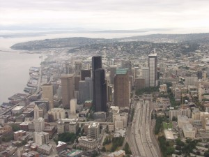 On this early morning flight over Seattle, state patrol troopers see light traffic on Interstate 5, but each day brings speeding, congestion and unexpected events.