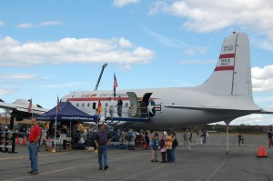 The vertical stabilizer of the Berlin Airlift Historical Foundation's C-54E, Spirit of Freedom, indicates it was once a Navy R5D. It's one of only four airworthy C-54s in the U.S. Interior tours cost $5 for adults, $3 for children.