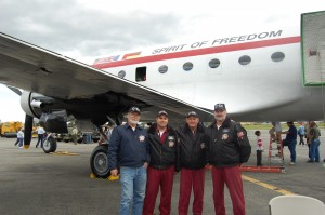 L to R: Frank Benson, Kevin Kearney, Tim Chopp and Steve Grubesich are the Berlin Airlift Historical Foundation crew. The foundation needs volunteers who are willing get their hands dirty and go beyond their comfort zone to fix the airplane.
