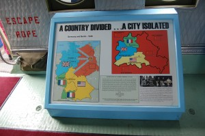 One of the museum's displays illustrates the division of Berlin. The Soviet occupation zone surrounded the American, British and French sectors of the city. The success of the airlift avoided an armed conflict with the Soviet Union.