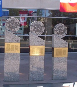 Several of the monuments and plaques are located in front of the Lancaster Performing Arts Center.
